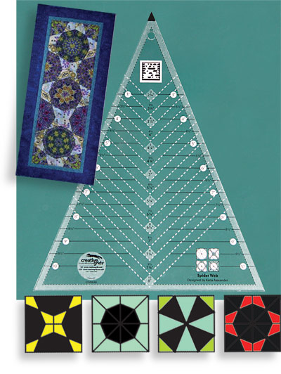 Creative Grids Spider Web Triangle Quilting Ruler Template CGRKA6
